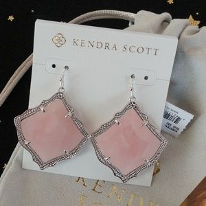 Kendra Scott Kirsten Silver Drop Earrings In Pink